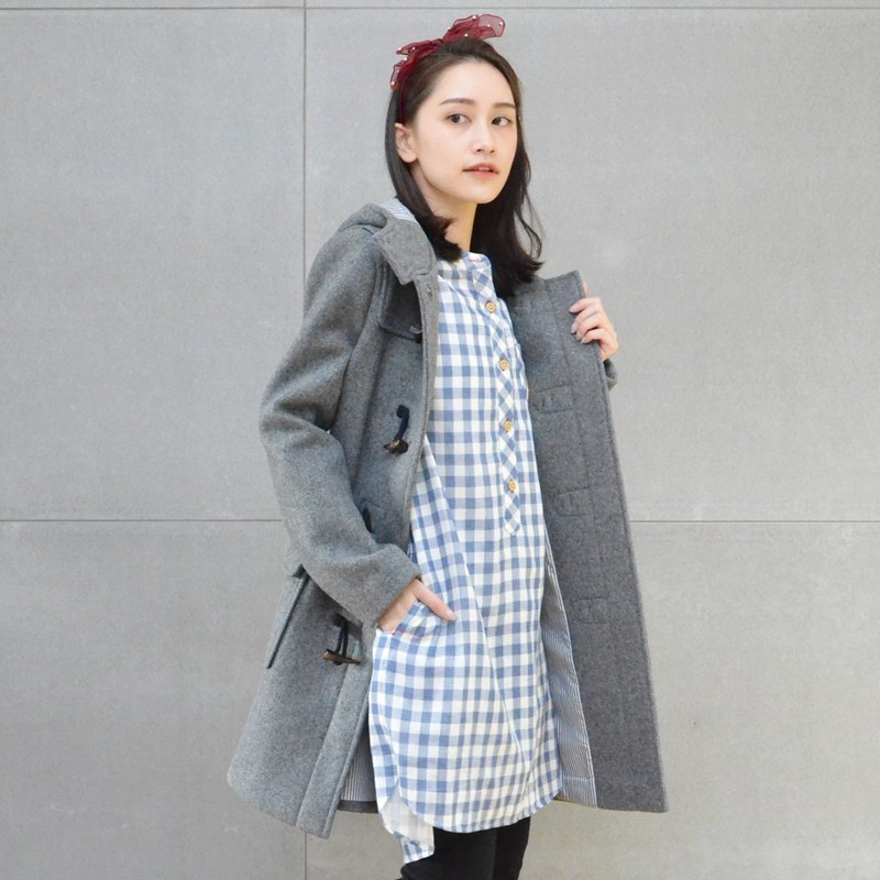 Cattle horn buckle coat (gray)