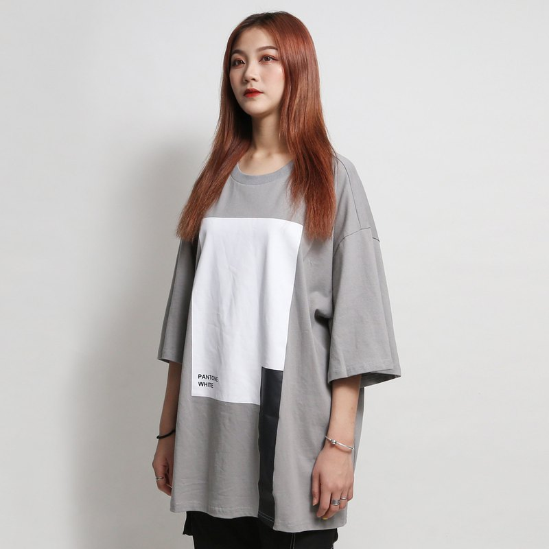 [ionism] color block Tee gray