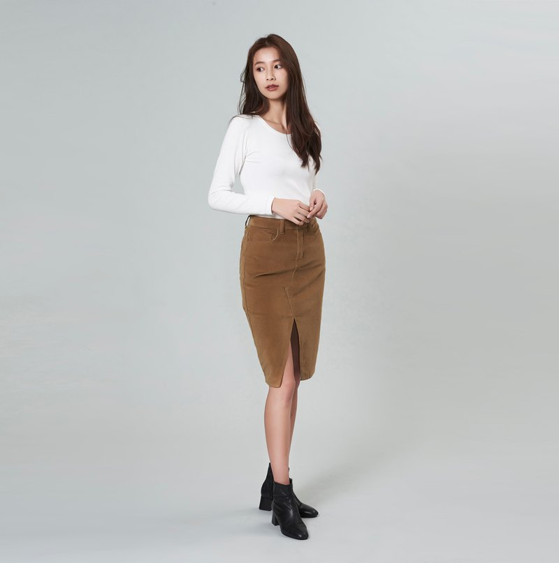 Camel Corduroy Stretch High Waist Pencil Skirt