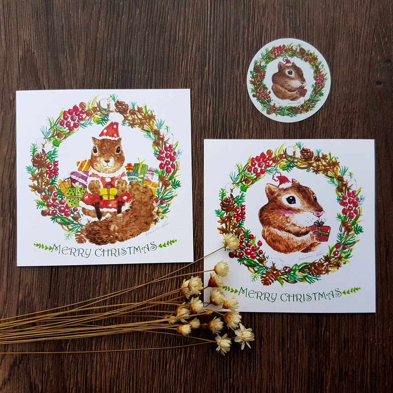 [Winter limited] small squirrel wreath Christmas card