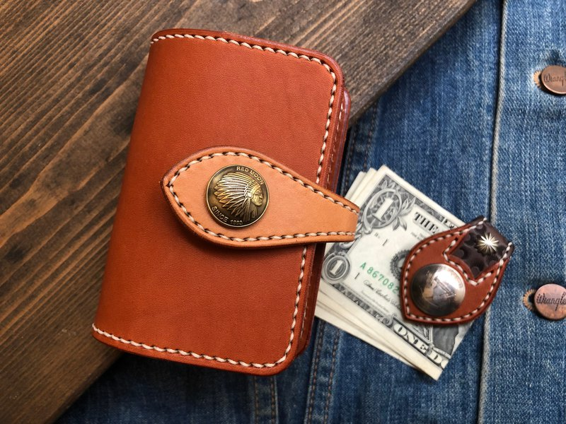 Coin Buckle Card Holder Vegetable Tanned Leather