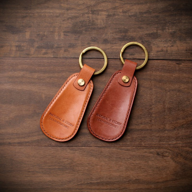 [NS handmade leather goods] leather key ring shoe keychain (free printing)