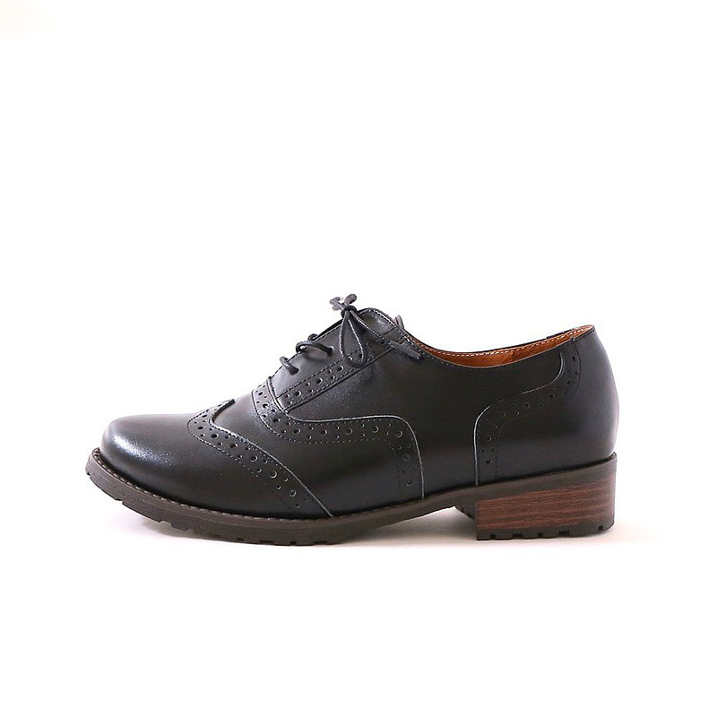 Buffalo cowhide orthodox cushioned Oxford shoes black