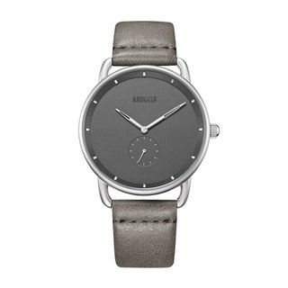 BAOGELA - DOME Silver Black Dial / Grey Leather Watch