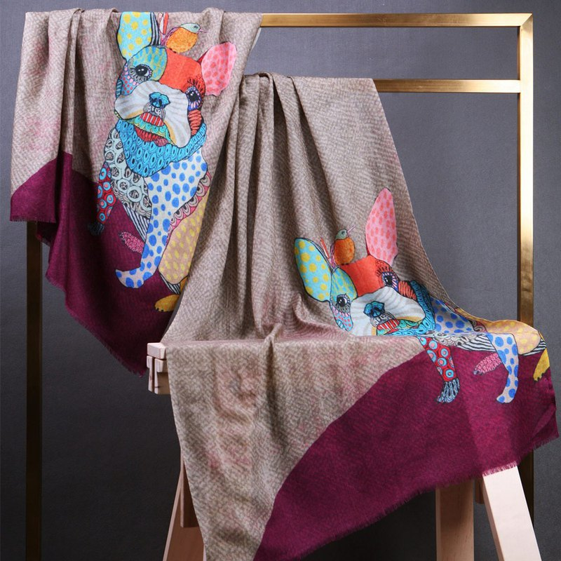[Scarfesia] playful French artist to paint the Indian handmade shawl scarf - two colors
