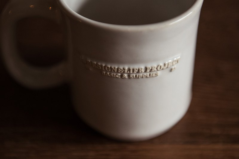 D&L White Pottery Mug