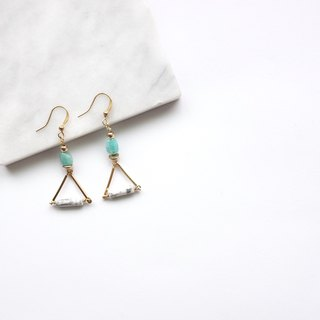 Brass Earrings | White Turquoise | Tianhe Stone | Geometric Ear Pins / Ear Clips