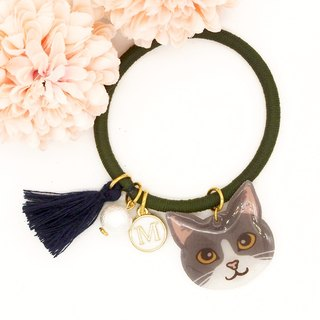 Meow handmade cat and cotton pearl hairband - grey and white cat