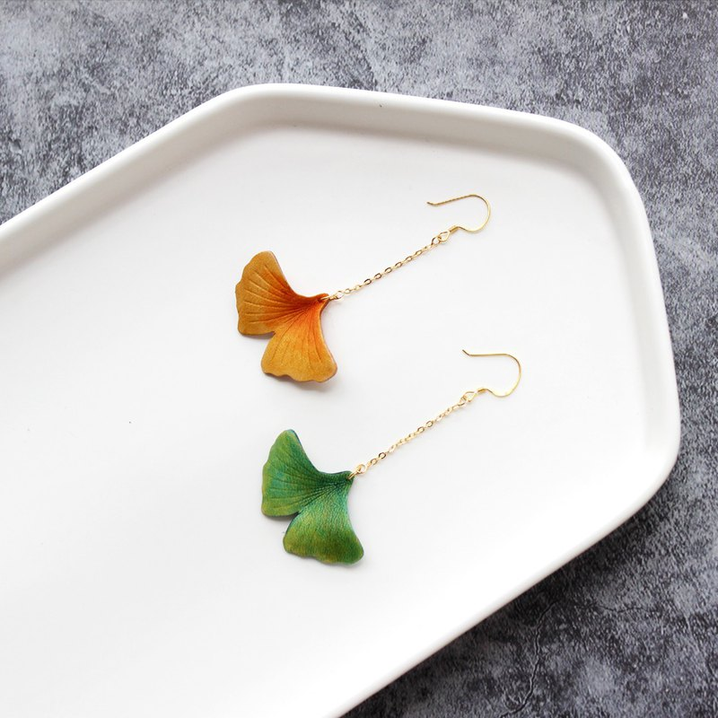 Such as 玮 leather ginkgo hand dye earrings single orange yellow 925 pure silver ear pin 18K gold plated