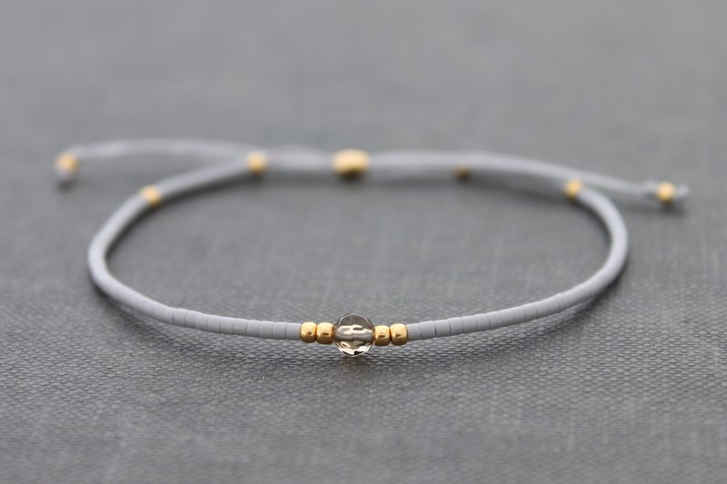 Minimal Seed Beads Bracelets Grey Gold Small Basic Friendship Bracelets