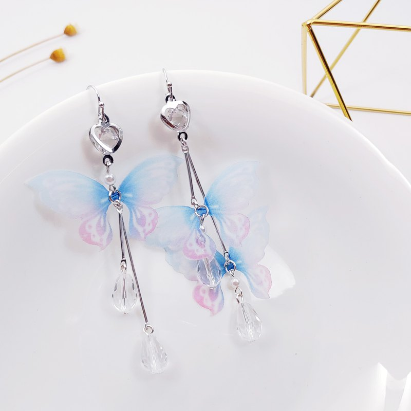 Big Thousand Design Silver Heart Drill Tulle Flying Butterfly Crystal Asymmetric Earrings Gift Valentine's Day
