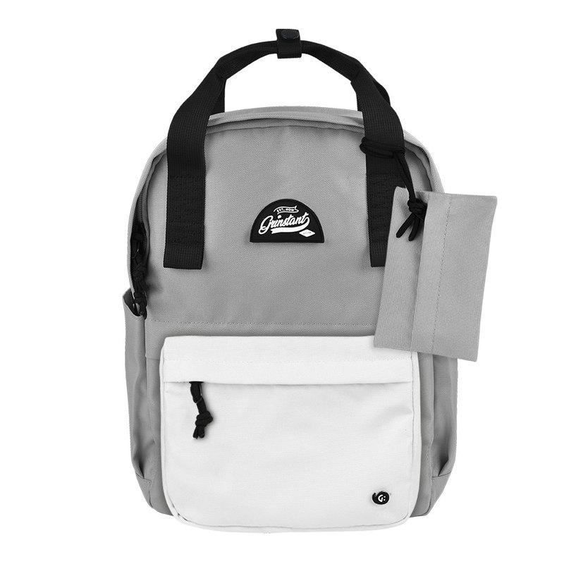 Grinstant混搭可拆組式13吋後背包 - 黑白系列 (灰色配白色)
