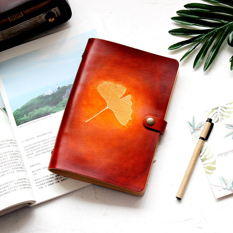Red brown ginkgo leaf a5 a6 a7 loose-leaf notebook hand book handmade leather notepad stationery