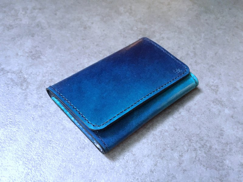 Hand dyed leather blue black card holder card holder business card holder