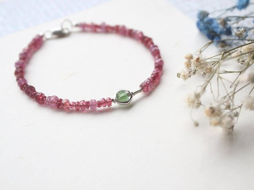 Journal red star ring / natural red spinel mix green tourmaline, sterling silver bracelet
