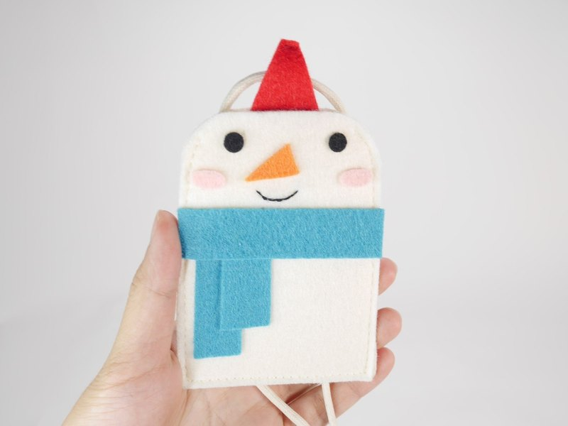 Cute Wind Double Card Holder - Blue Scarf Snowman