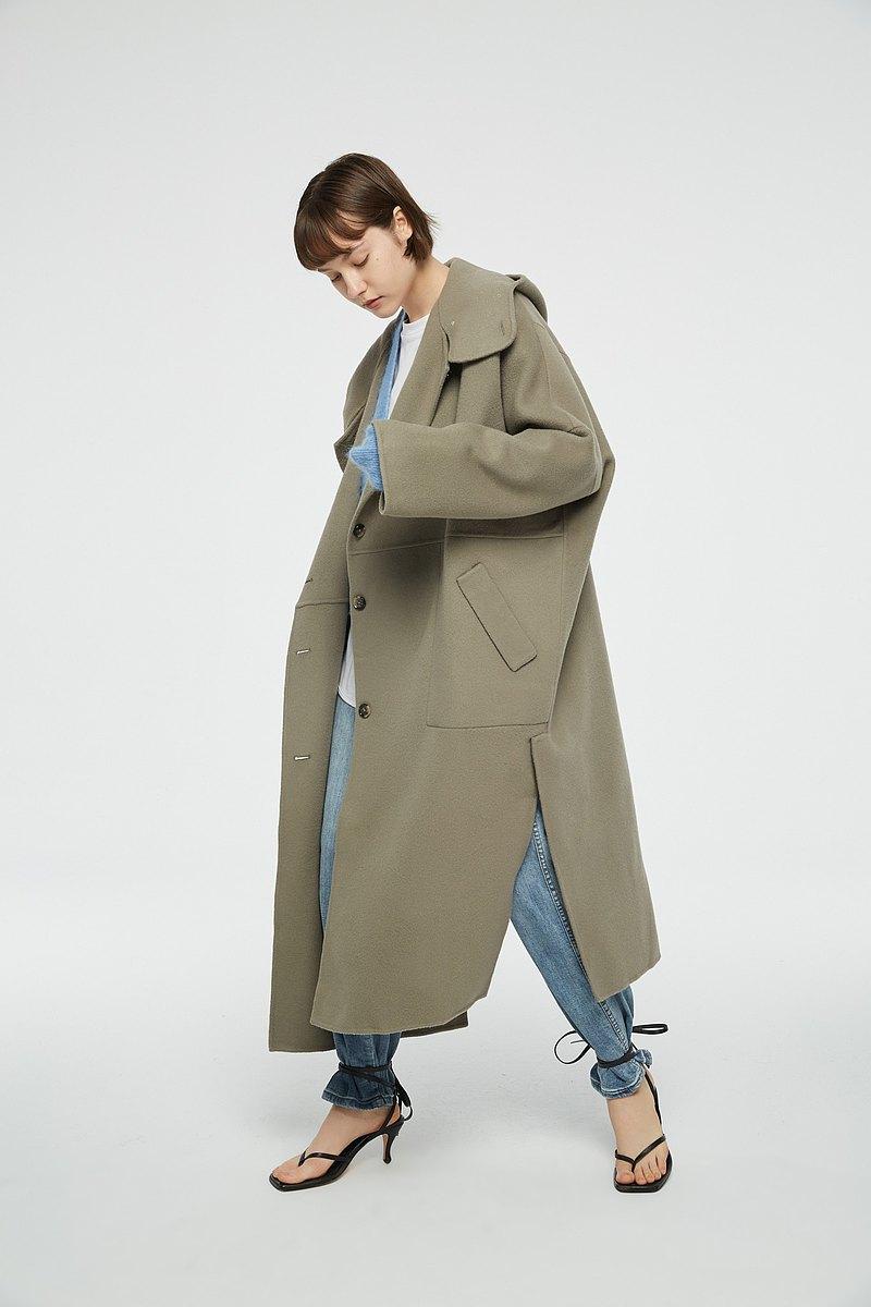 高級時髦 羊毛雙面呢 羊毛雙面呢長版大衣
