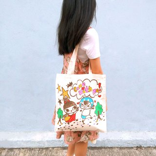 Hong kong design chasing Bo thief cat & Namly hand drawing tote bag/canvas