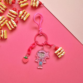 Peach Pink // Strawberry Squid - Fructose Handmade Charm / Key Ring