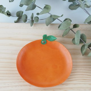 Small orange leather plate jewelry plate orange