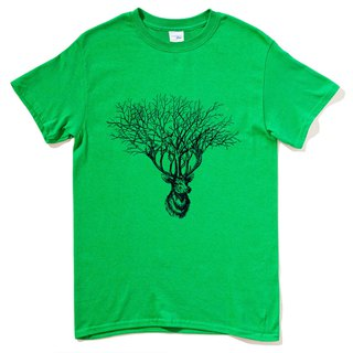 Deer Tree (spot) short-sleeved T-shirt green deer tree elk design Wenqing own brand animals