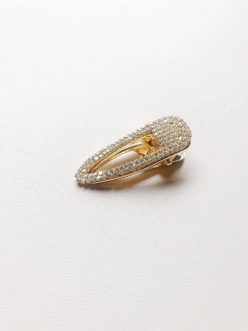 Fine Drilled Duckbill Hair Clip - Fine Diamond / Gold
