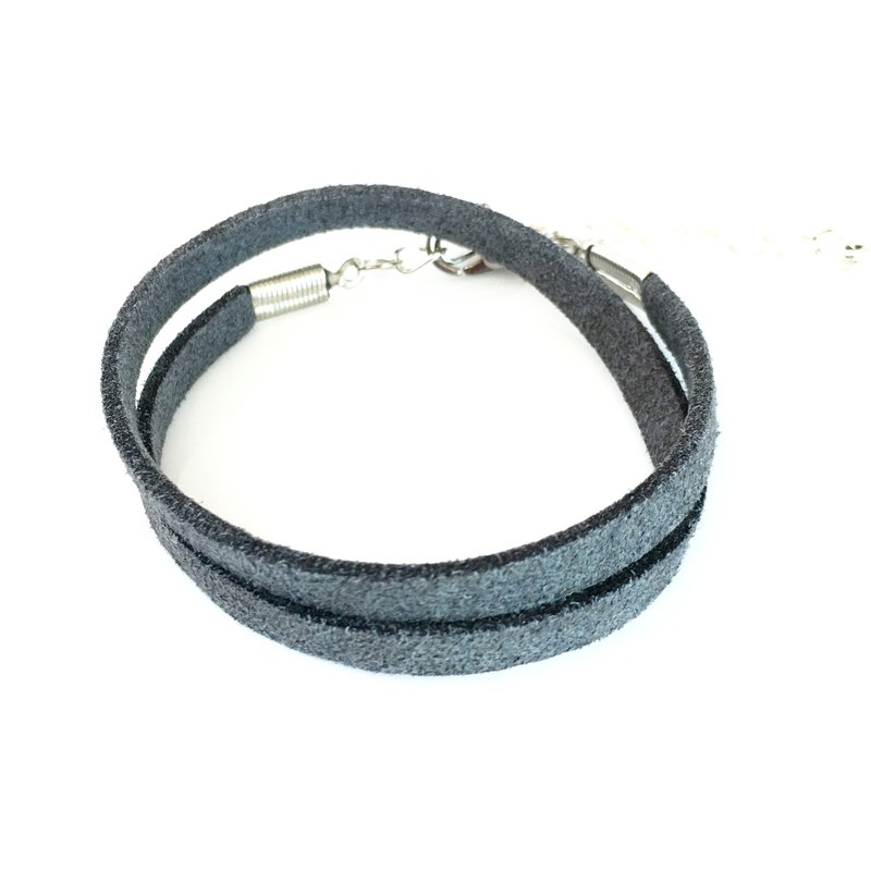 Dark gray - suede roping bracelet (can also be used as a necklace)
