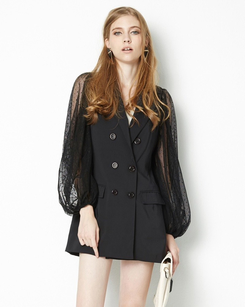Mesh sleeve double-breasted jacket Double Breasted Blazer with Tulle Sleeve