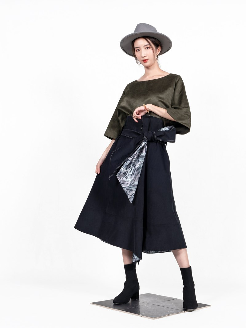 [Welfare product] high waist long skirt with slender waist cracks-cashmere black