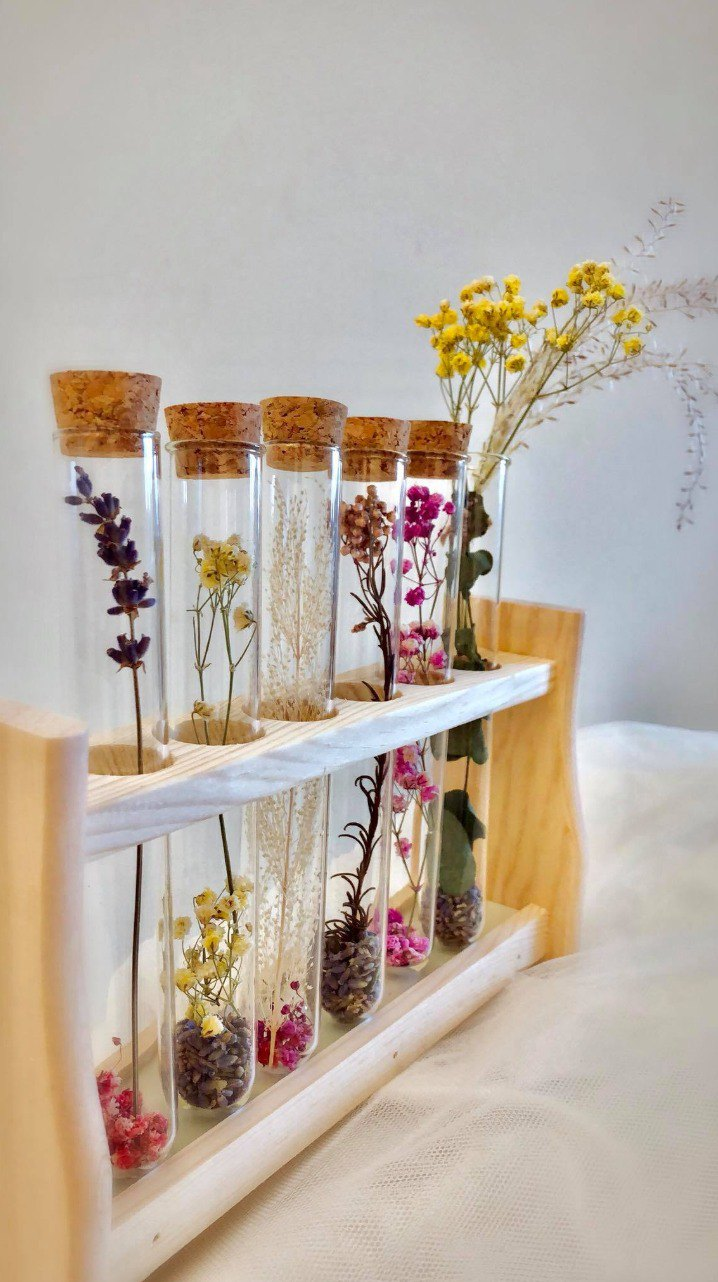 Romantic 6 tube test tube flower decoration, office furnishings group