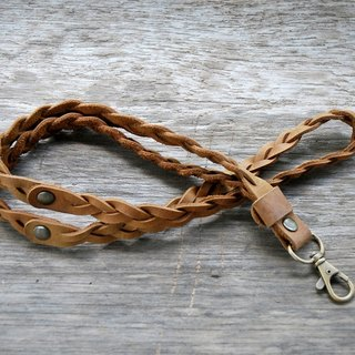 Tan Oil Leather braided lanyard, Leather keychain, leather key strap, Leather Neck Strap , Neck Lanyard unisex style