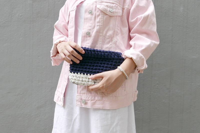 Duo Color Handbag, crochet, knit, handmade (Inked / Navy)