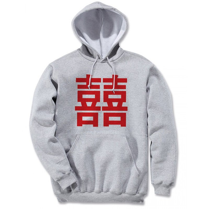 Chinese Joy # 2-red front figure (spot) long-sleeved bristles hooded T gray Chinese 囍 wedding wedding gift wedding green simple fresh