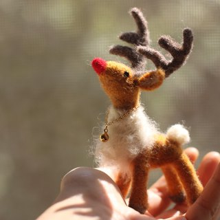 Cute mini version red nose reindeer Rudolph. Christmas reindeer custom made Christmas exchange gift