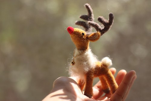 Cute Mini Red Nosed Reindeer Rudolph. Christmas Reindeer Made. Christmas Gift Exchange Gift Best Choice