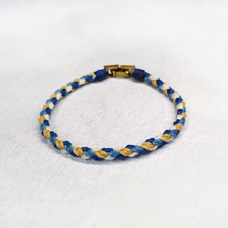 [Classic round rope] Silk wax line four-color woven bracelet / brass buckle
