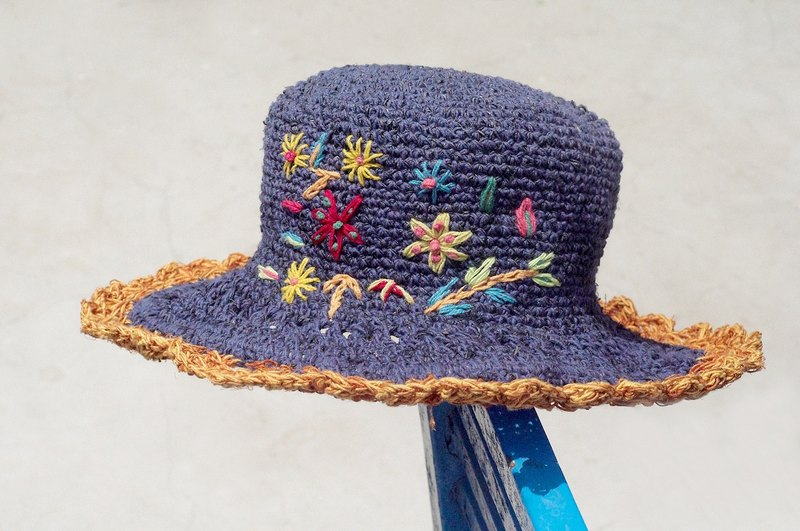 Valentine's Day gift limited a hand-woven cotton / cotton hat / hat / fisherman hat / sun hat / straw hat / straw hat - blue Mediterranean rainbow embroidery flowers forest wind (orange lace)