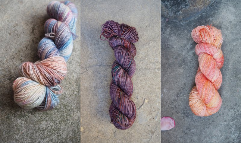 Hand dyed the line. Custom combination (marshmallow + love winter + grapefruit sparks) + winding