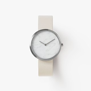 Outline Silver 34mm leather strap with marble surface Swiss movement sapphire glass