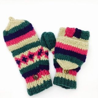 Nepal 100% wool hand-knitted pure wool thick gloves - peach x blue x green Nordic style