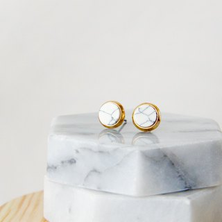Inlaid gold-trimmed stone small round - stone white ear earrings (pair) [can be changed ear clip]