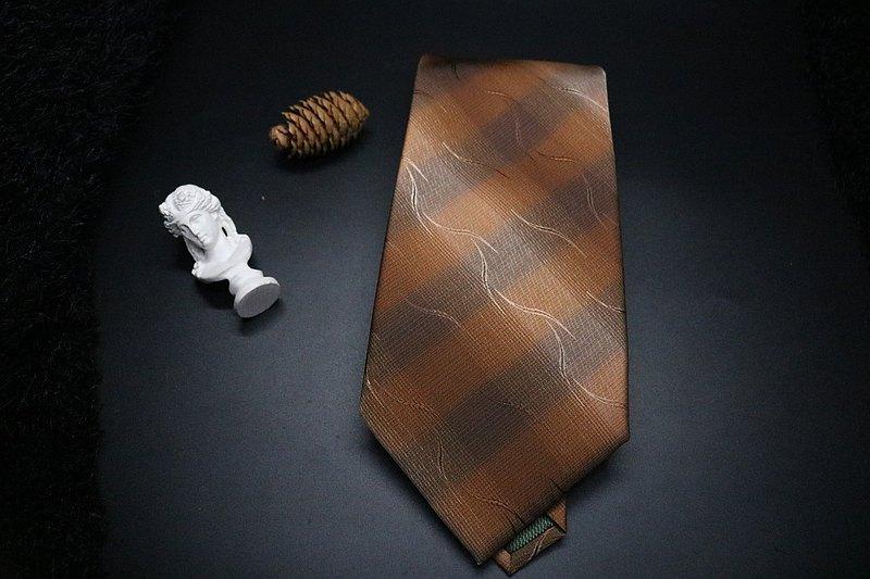 深咖色大條紋真絲領帶/紳士成熟魅力necktie