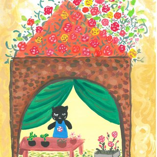 [Fantasy shop series]-Cat flower shop_Postcard_Card