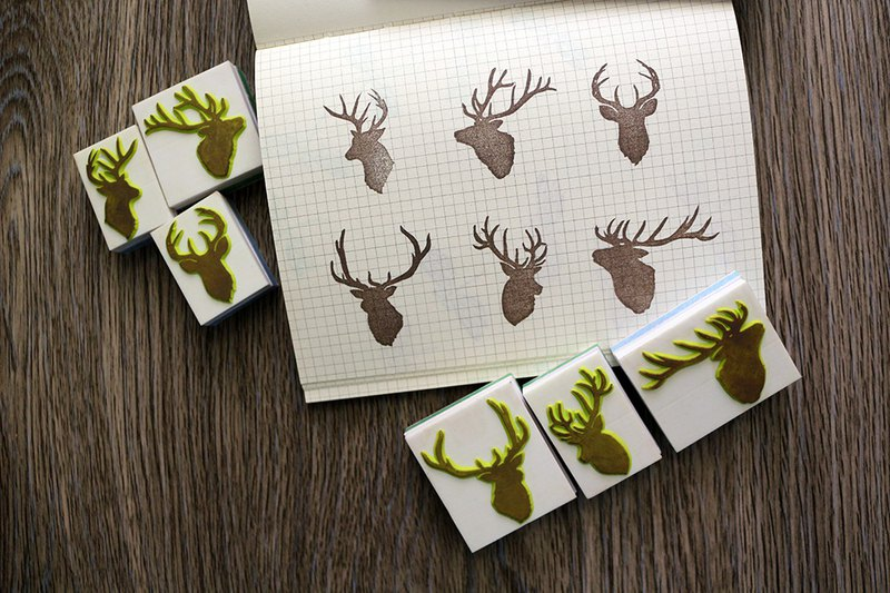 Apu handmade chapter elegant stag silhouette seal group AB group each 3 slogan seal