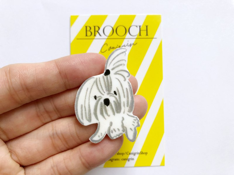 Shih tzu brooch dog illustration jewelry pin badge