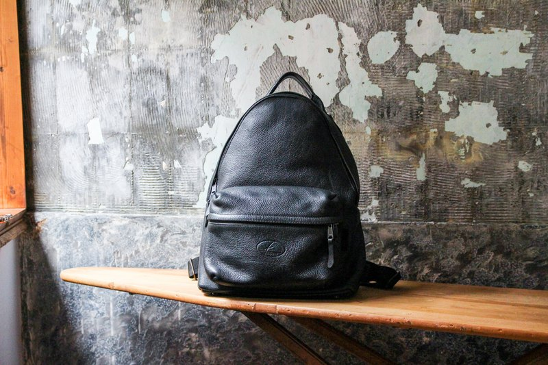 袅袅 department store - Vintage black leather backpack with retro