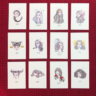 Postcard 12 constellations Qinky's Red / original design / constellation / card