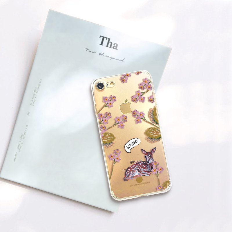 Deer clear phone case Floral clear iPhone x Case OPPO r11 case LG v30+ case S8