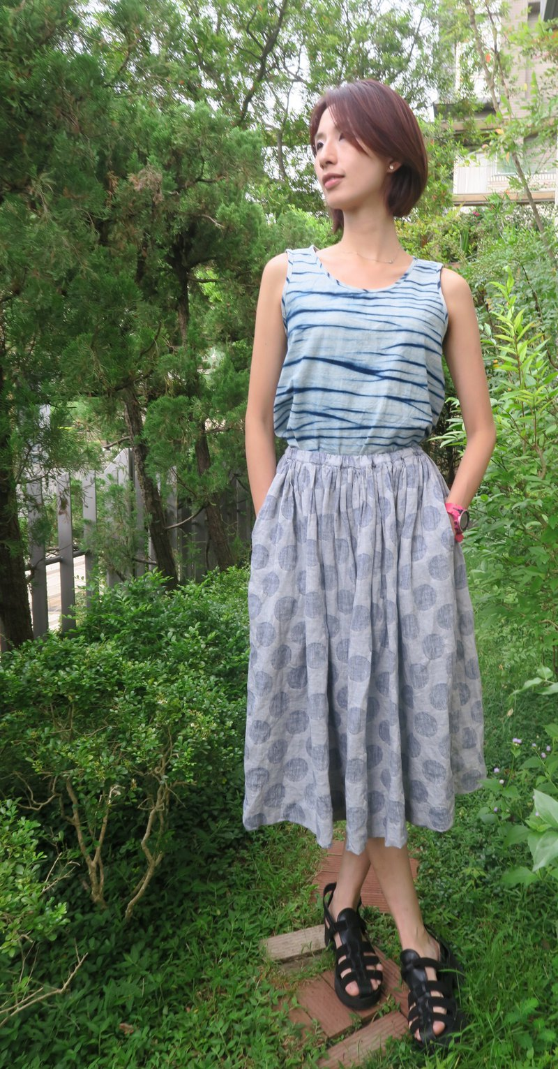 Handmade cotton blue dyed vest