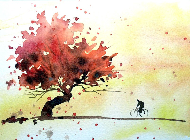 Nostalgic Woods Series 494 - Watercolor Hand Drawn Limited Edition Postcard / Commemorative Card
